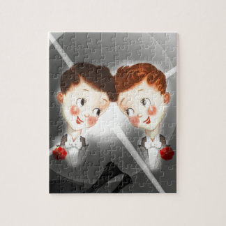 Two Gay Men Couple In Tuxedos Adorable Vintage Jigsaw Puzzle