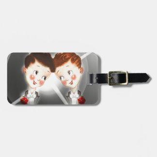Two Gay Men Couple In Tuxedos Adorable Vintage Luggage Tag
