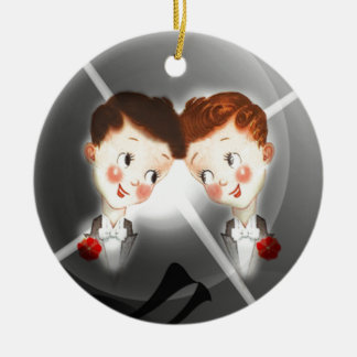 Two Gay Men Couple In Tuxedos Adorable Vintage Round Ceramic Decoration