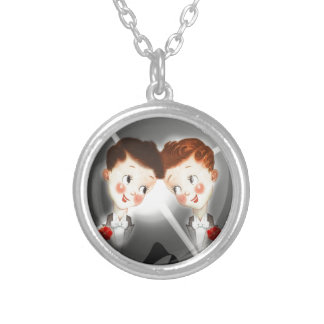 Two Gay Men Couple In Tuxedos Adorable Vintage Silver Plated Necklace