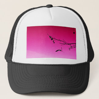 two geese flying in pink sky trucker hat