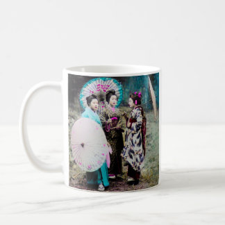 Two Geisha and a Maiko and Parasols Old Japan Coffee Mug
