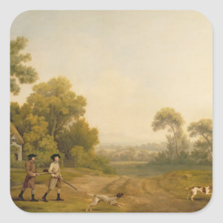 Two Gentlemen Going a Shooting oil on canvas Square Sticker
