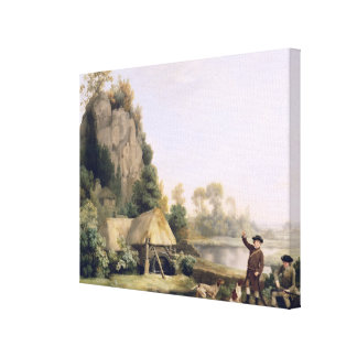 Two Gentlemen Going a Shooting, with a View of Cre Canvas Print
