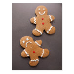 Two gingerbread men on grey postcard