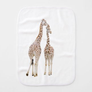 Two giraffes burp cloth