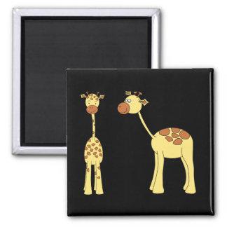 Two Giraffes. Cartoon Magnet