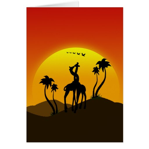 Two giraffes in Love at the sunset on a summer day Greeting Card