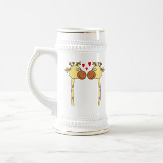 Two Giraffes with Red Love Hearts. Cartoon Beer Stein