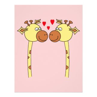Two Giraffes with Red Love Hearts Cartoon Flyers