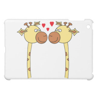 Two Giraffes with Red Love Hearts. Cartoon iPad Mini Cover