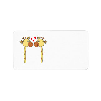 Two Giraffes with Red Love Hearts. Cartoon Label