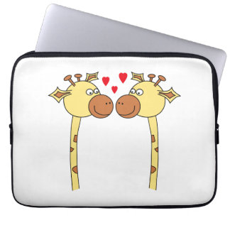 Two Giraffes with Red Love Hearts. Cartoon Laptop Sleeve