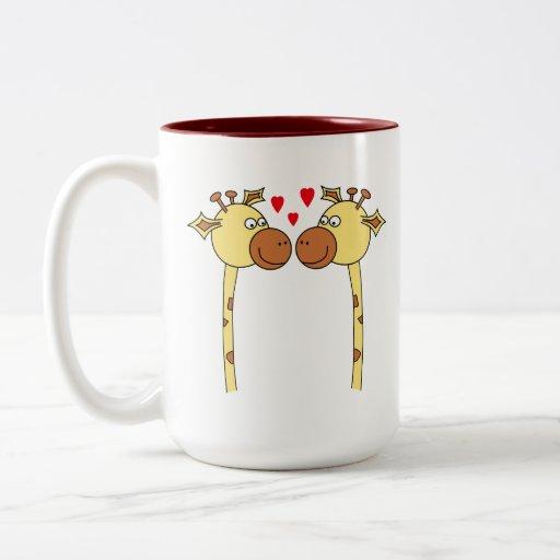 Two Giraffes with Red Love Hearts. Cartoon Coffee Mug