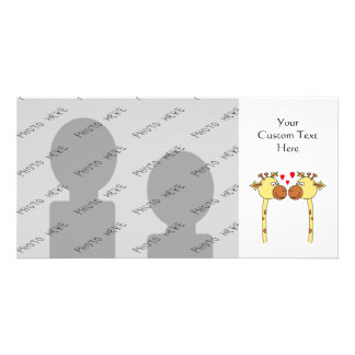 Two Giraffes with Red Love Hearts. Cartoon Customized Photo Card