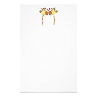 Two Giraffes with Red Love Hearts. Cartoon Stationery