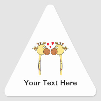 Two Giraffes with Red Love Hearts. Cartoon Triangle Sticker