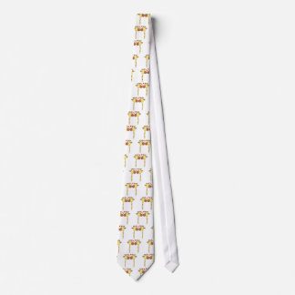 Two Giraffes with Red Love Hearts. Cartoon Tie