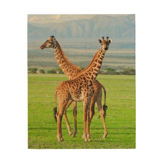 Two Giraffes Wood Wall Art