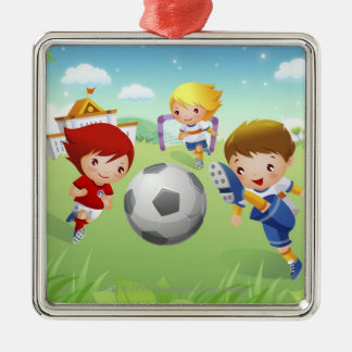 Two girls and a boy playing soccer christmas ornament