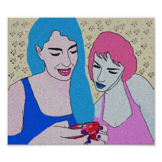 Two Girls and Phone Poster