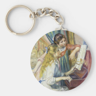Two Girls At The Piano,  By Pierre-Auguste Renoir Basic Round Button Key Ring