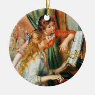 Two Girls at the Piano, Pierre Auguste Renoir Round Ceramic Decoration