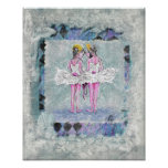 Two Girls Holding Ballet Shoes Poster