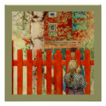 Two Girls Look Over the Fence Posters