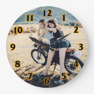 Two Girls on a Motorcycle Clock