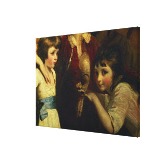 Two Girls, One Playing with a Mask, detail from th Canvas Print
