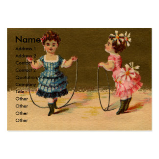 Two Girls Play with Rope and Hoop Business Card Templates
