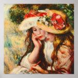 Two Girls Reading in a Garden Renoir Fine Art Poster