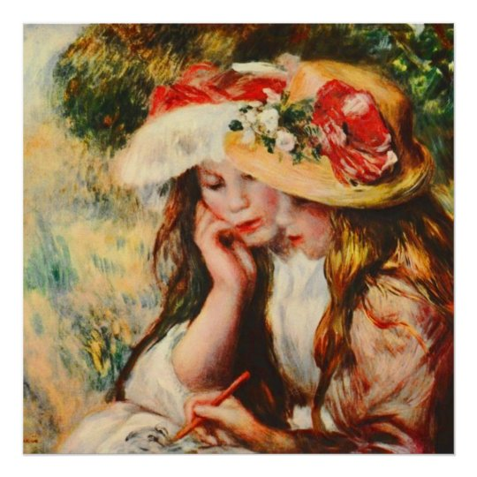 Two Girls Reading in a Garden Renoir Fine Art Poster