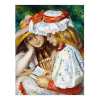 Two Girls Reading Pierre Auguste Renoir painting Postcard