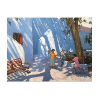 Two girls skipping Mykonos Canvas Print