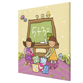 Two girls standing in front of a blackboard canvas print