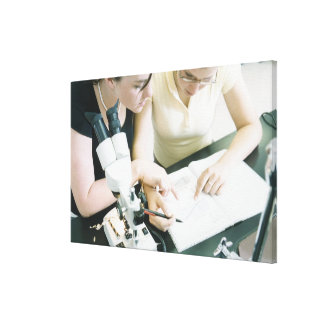 Two Girls with Microscope Canvas Print