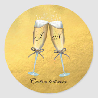 Two Glasses of Bubbly Faux Foil Gold Personalized Round Sticker