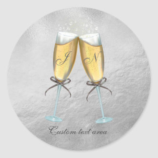 Two Glasses of Bubbly Faux Foil Silver Custom Round Sticker