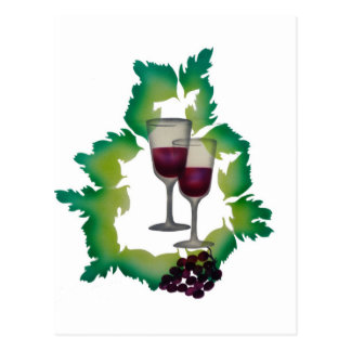 Two Glasses of Red Wine Postcards