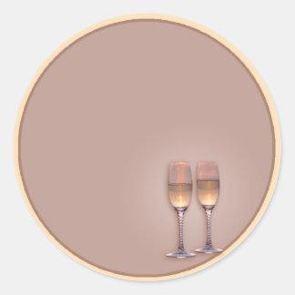 Two Glasses Round Sticker