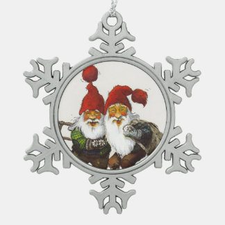 Two Gnome Friends Pewter Snowflake Decoration