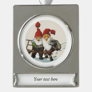 Two Gnome Friends Silver Plated Banner Ornament