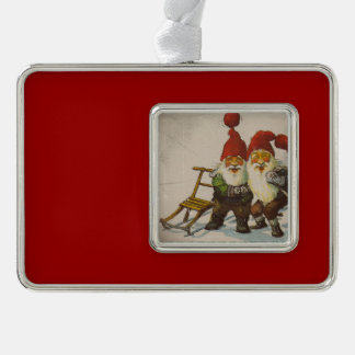 Two Gnome Friends Silver Plated Framed Ornament