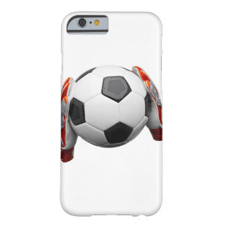 Two goal keepers gloves holding a football barely there iPhone 6 case
