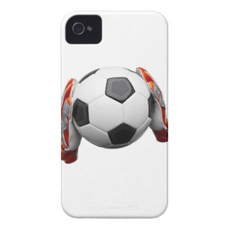 Two goal keepers gloves holding a football iPhone 4 Case-Mate cases
