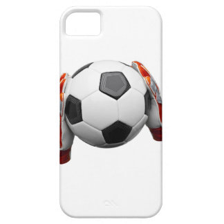Two goal keepers gloves holding a football iPhone 5 cover