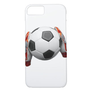 Two goal keepers gloves holding a football iPhone 8/7 case