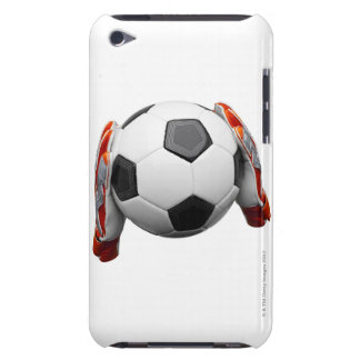 Two goal keepers gloves holding a football iPod Case-Mate cases